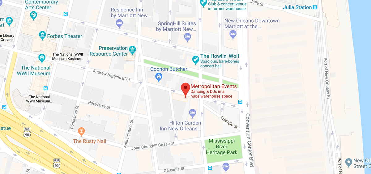 Map to The Metropolitan in New Orleans